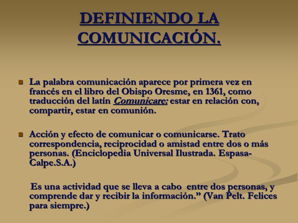 DEFINIENDO LA COMUNICACIÓN.