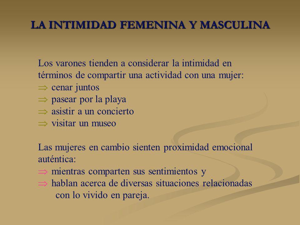 LA INTIMIDAD FEMENINA Y MASCULINA