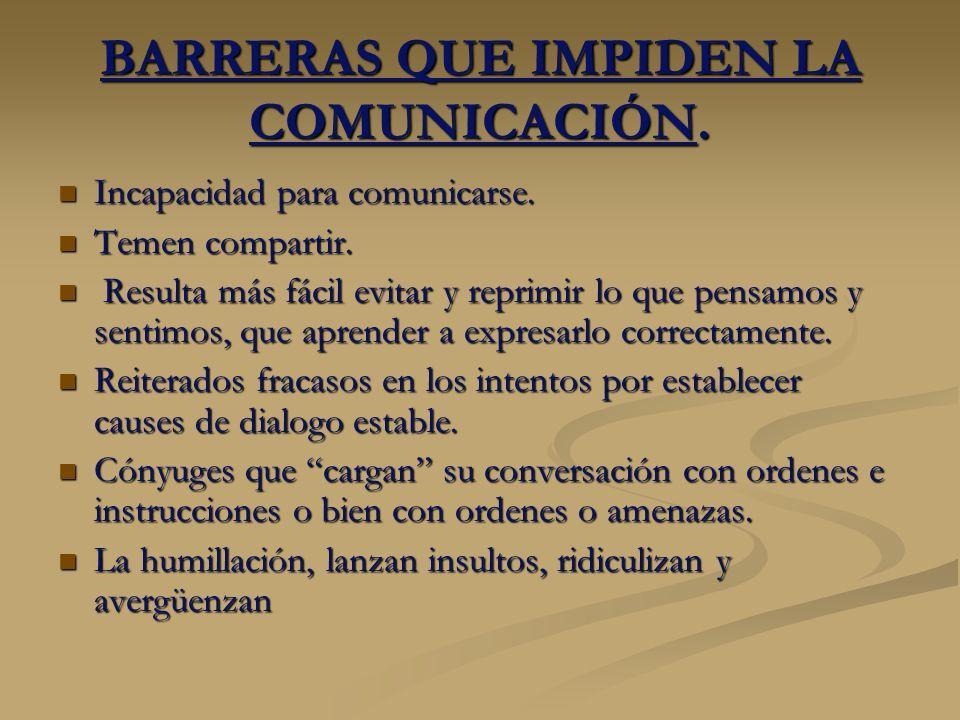BARRERAS QUE IMPIDEN LA COMUNICACIÓN.