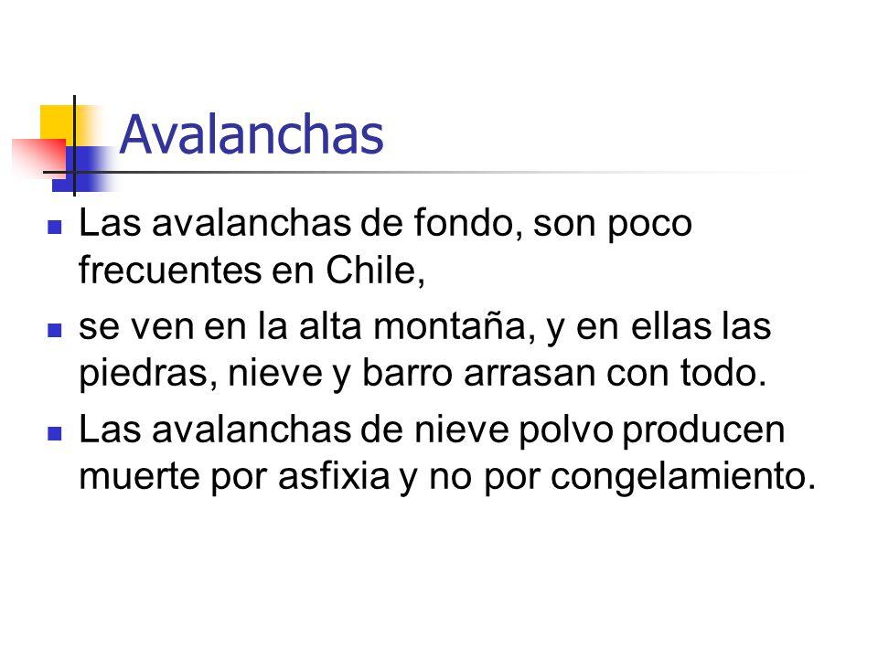 Avalanchas Las avalanchas de fondo, son poco frecuentes en Chile,