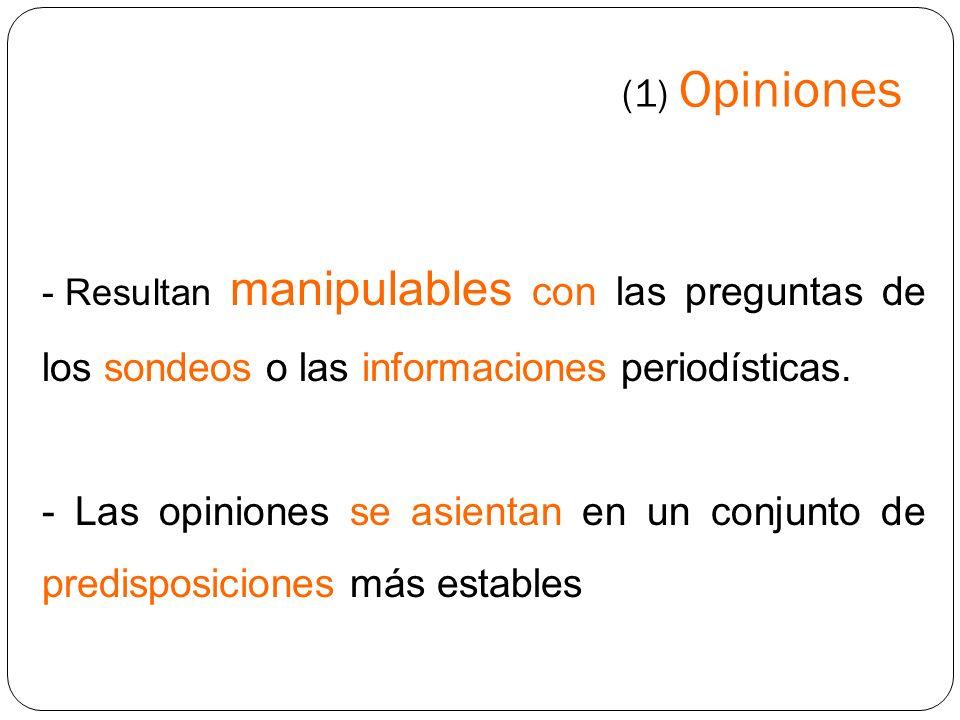 (1) Opiniones Resultan manipulables con las preguntas de los sondeos o las informaciones periodísticas.