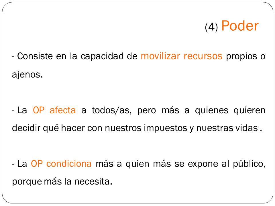 (4) Poder Consiste en la capacidad de movilizar recursos propios o ajenos.