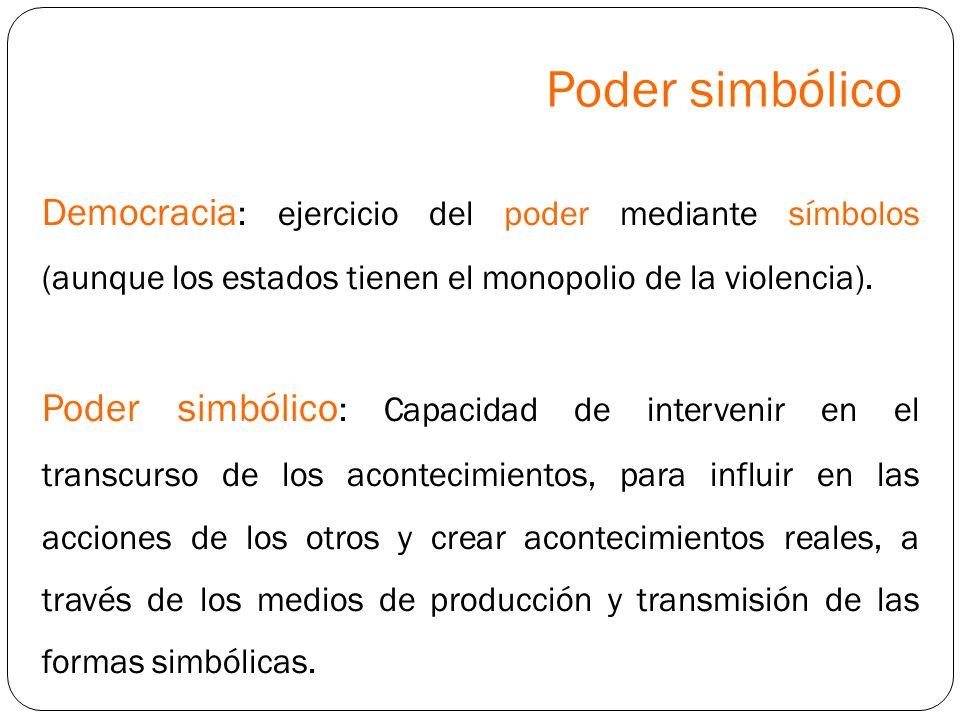 Poder simbólicoDemocracia: ejercicio del poder mediante símbolos (aunque los estados tienen el monopolio de la violencia).