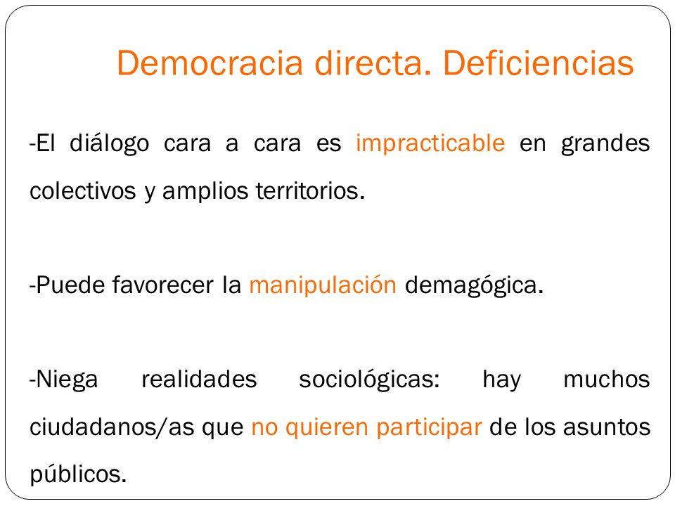 Democracia directa. Deficiencias