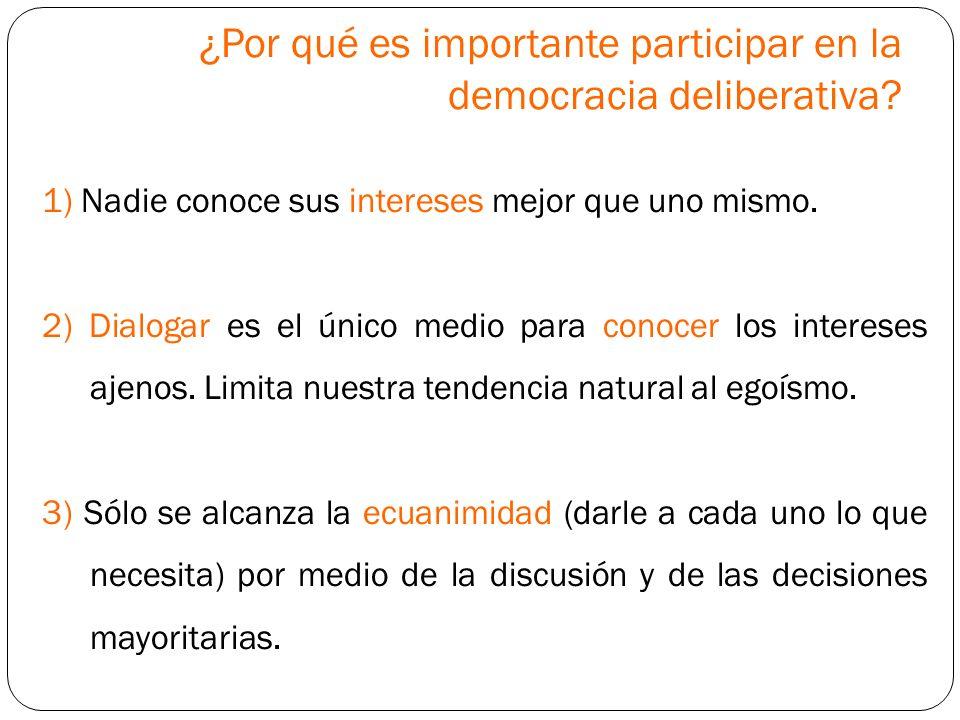 ¿Por qué es importante participar en la democracia deliberativa