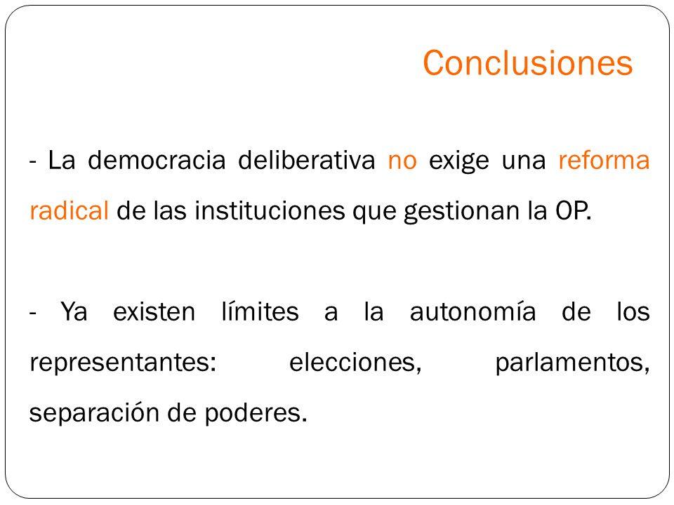 Conclusiones - La democracia deliberativa no exige una reforma radical de las instituciones que gestionan la OP.