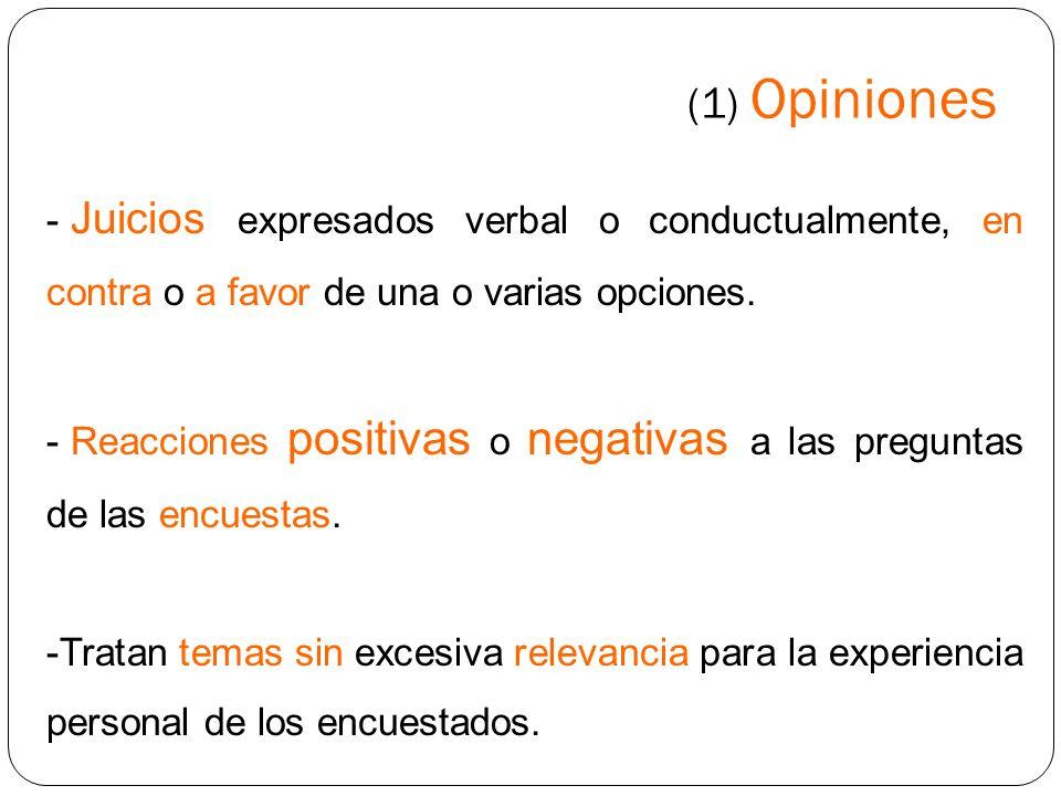 (1) Opiniones Juicios expresados verbal o conductualmente, en contra o a favor de una o varias opciones.
