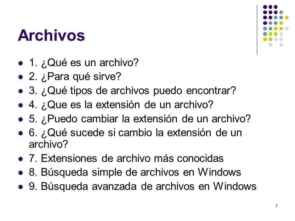 Archivos 1. ¿Qué es un archivo 2. ¿Para qué sirve