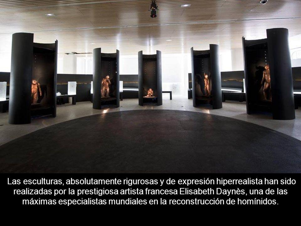 Las esculturas, absolutamente rigurosas y de expresión hiperrealista han sido realizadas por la prestigiosa artista francesa Elisabeth Daynès, una de las máximas especialistas mundiales en la reconstrucción de homínidos.