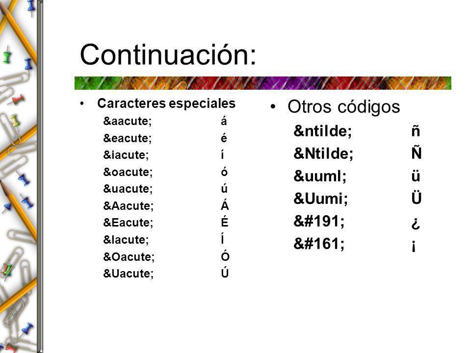 Continuación: Otros códigos ñ ñ Ñ Ñ ü ü &Uumi; Ü