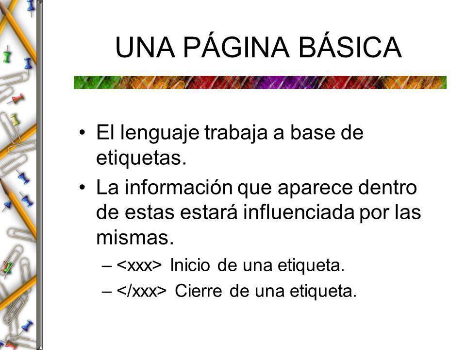 UNA PÁGINA BÁSICA El lenguaje trabaja a base de etiquetas.