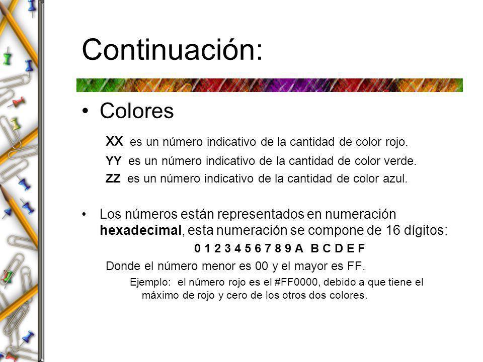Continuación: Colores