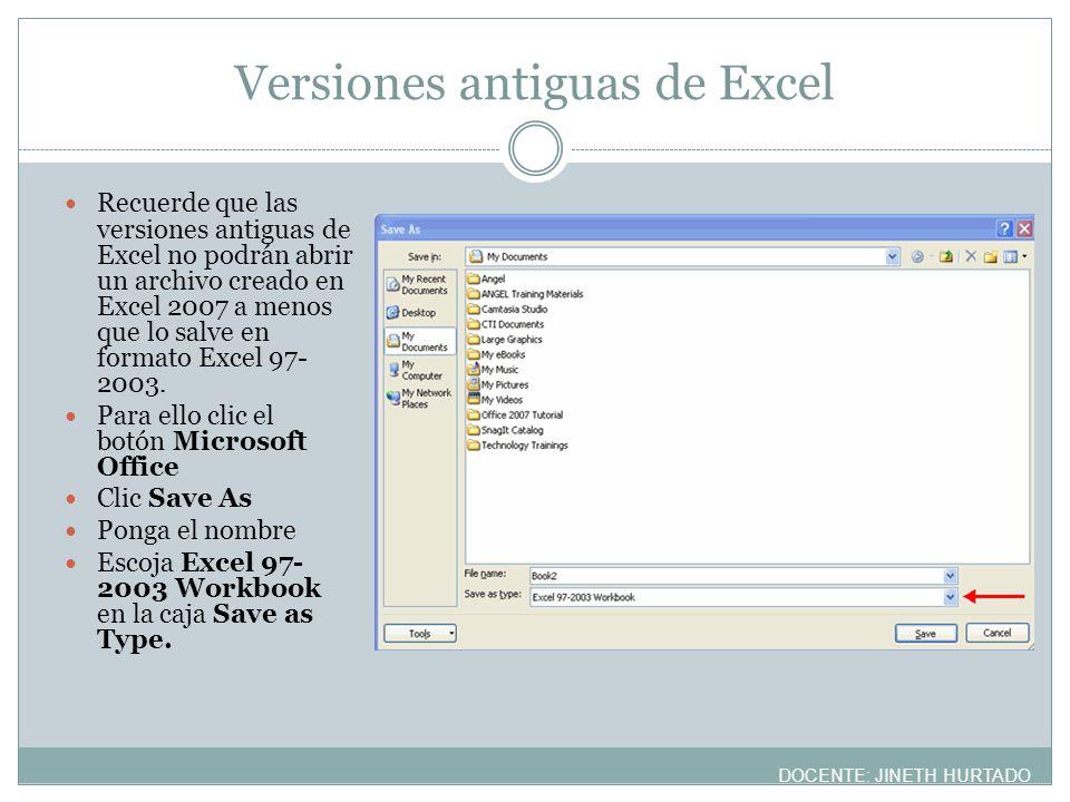 Versiones antiguas de Excel