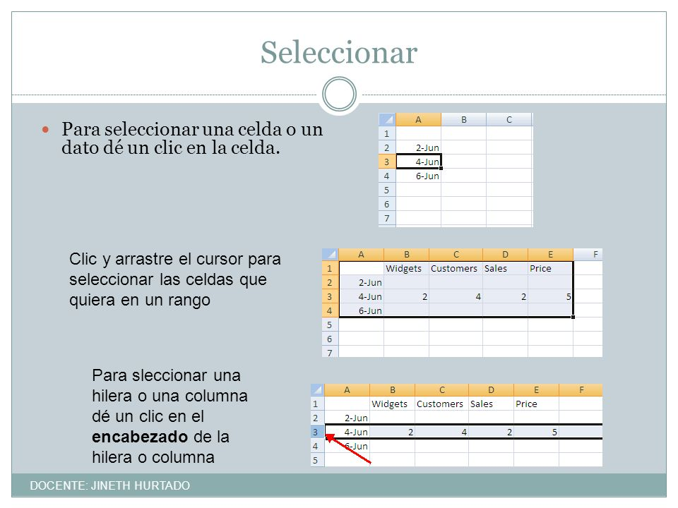 Seleccionar Para seleccionar una celda o un dato dé un clic en la celda.