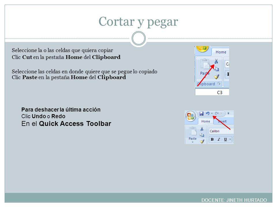 Cortar y pegar En el Quick Access Toolbar