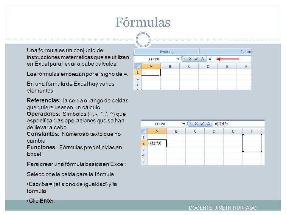 Fórmulas Una fórmula es un conjunto de instrucciones matemáticas que se utilizan en Excel para llevar a cabo cálculos.