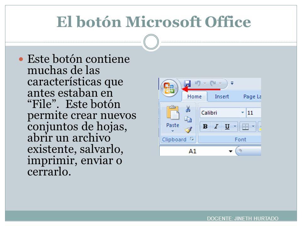 El botón Microsoft Office