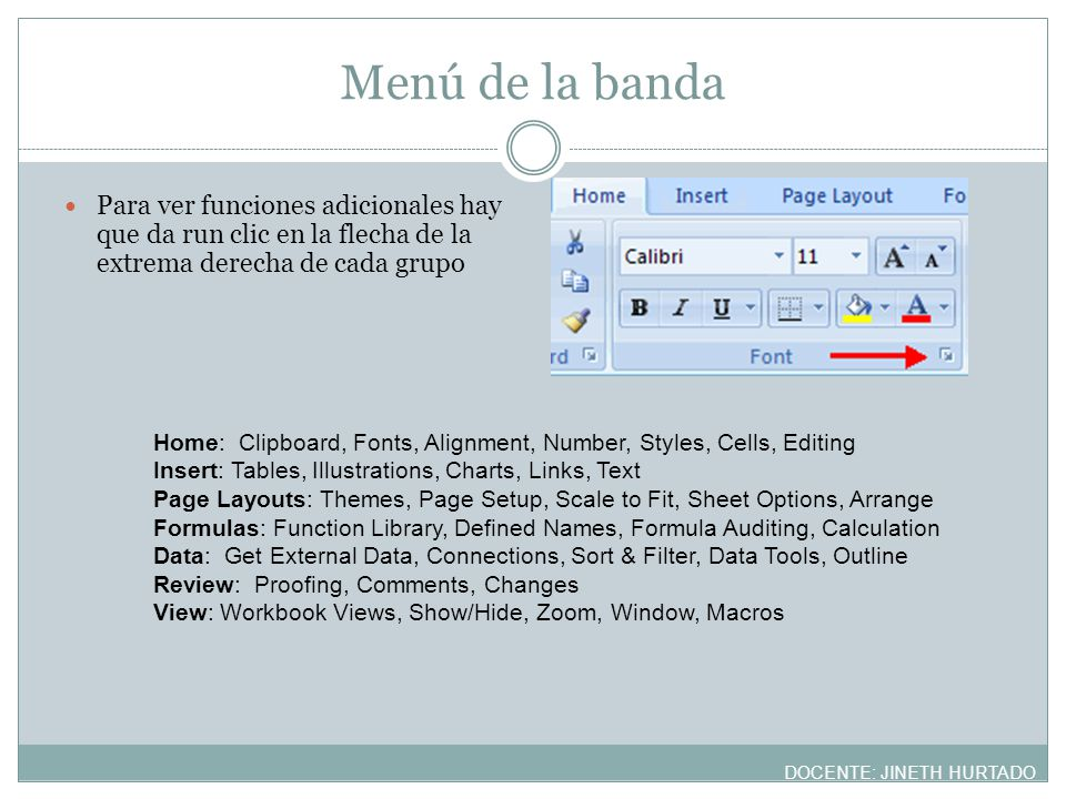 Menú de la banda Para ver funciones adicionales hay que da run clic en la flecha de la extrema derecha de cada grupo.