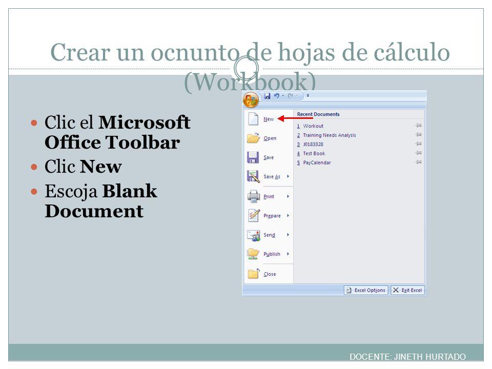 Crear un ocnunto de hojas de cálculo (Workbook)