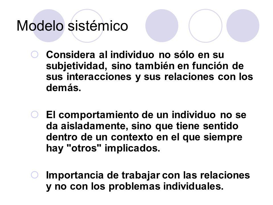 Modelo sistémico Considera al individuo no sólo en su subjetividad, sino también en función de sus interacciones y sus relaciones con los demás.
