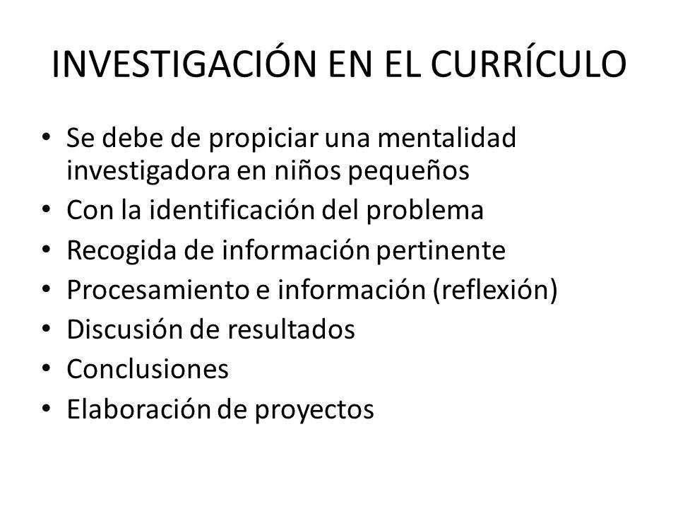 INVESTIGACIÓN EN EL CURRÍCULO