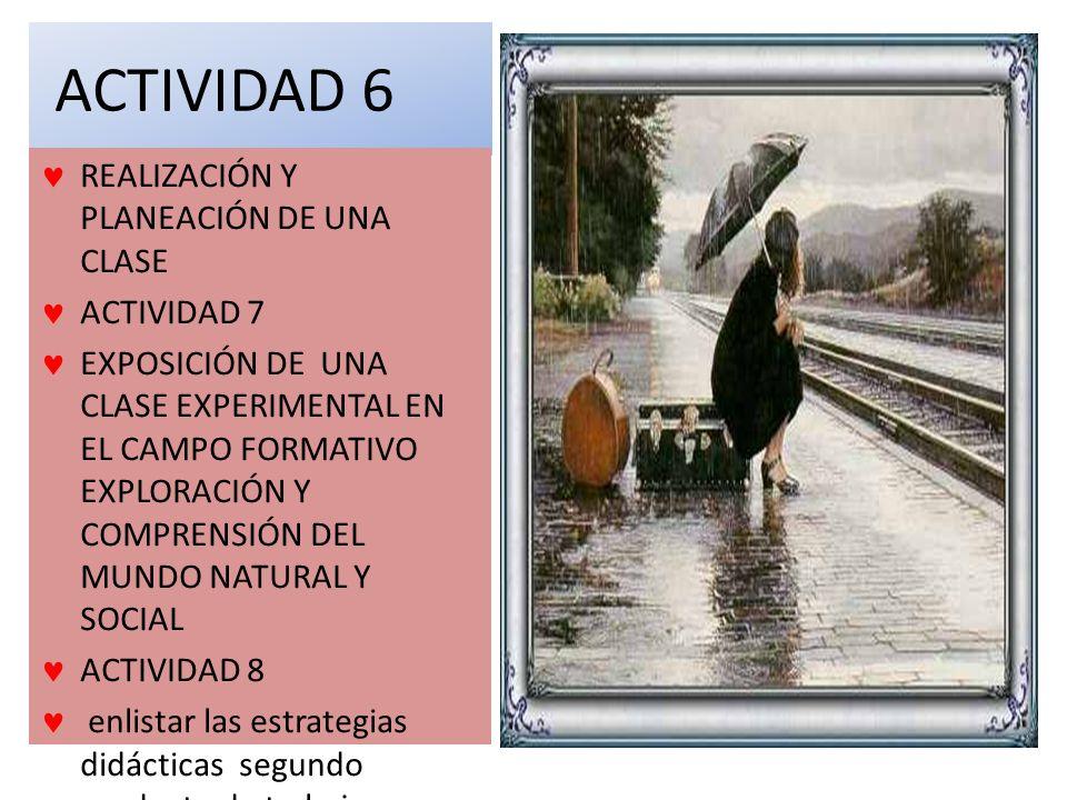 ACTIVIDAD 6 REALIZACIÓN Y PLANEACIÓN DE UNA CLASE ACTIVIDAD 7