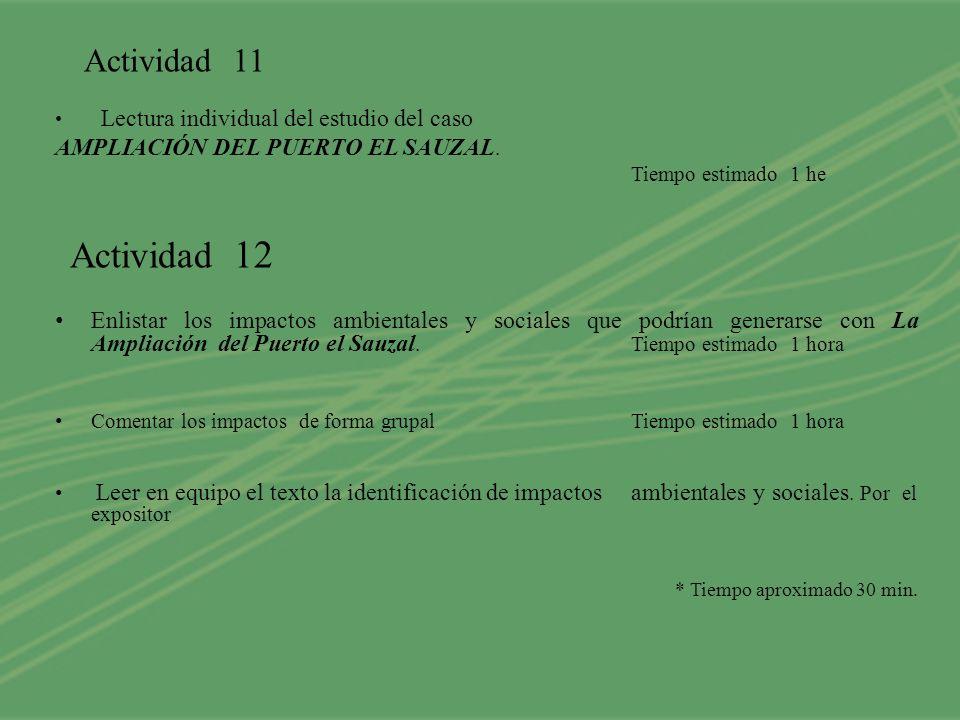 Actividad 11 Actividad 12 AMPLIACIÓN DEL PUERTO EL SAUZAL.