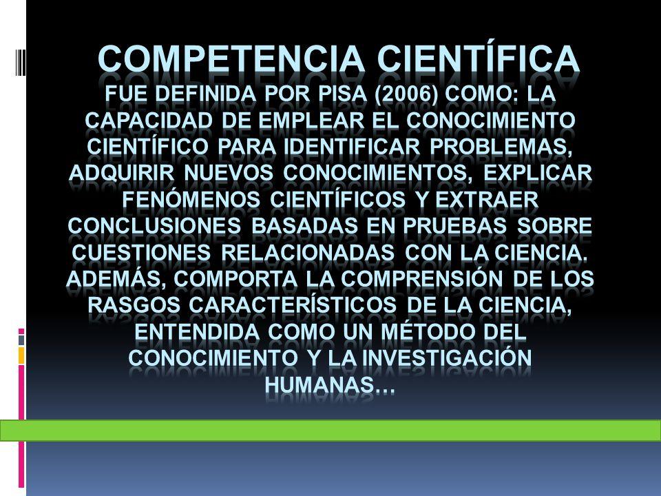 competencia científica fue definida por PISA (2006) como: La capacidad de emplear el conocimiento científico para identificar problemas, adquirir nuevos conocimientos, explicar fenómenos científicos y extraer conclusiones basadas en pruebas sobre cuestiones relacionadas con la ciencia.
