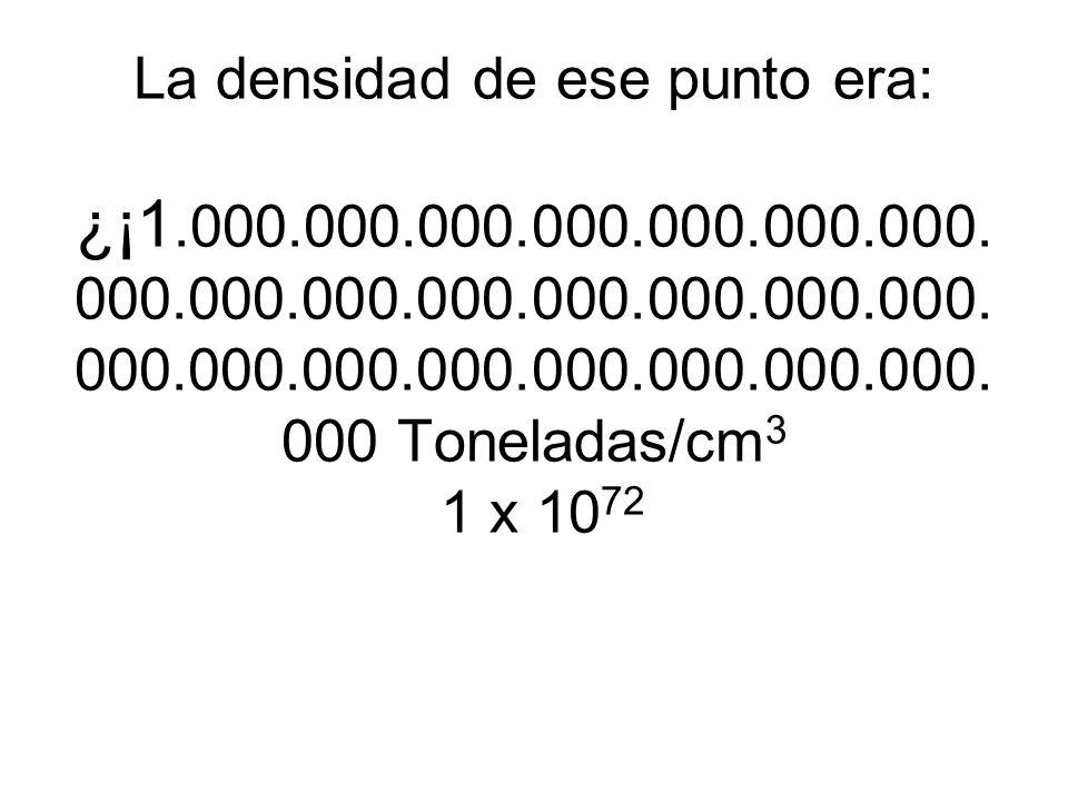 La densidad de ese punto era: ¿¡1. 000. 000. 000. 000. 000. 000. 000