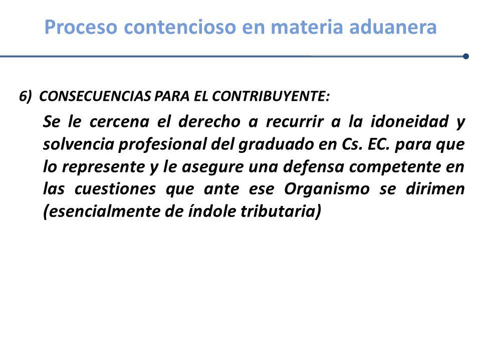 Proceso contencioso en materia aduanera