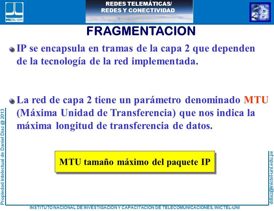 MTU tamaño máximo del paquete IP