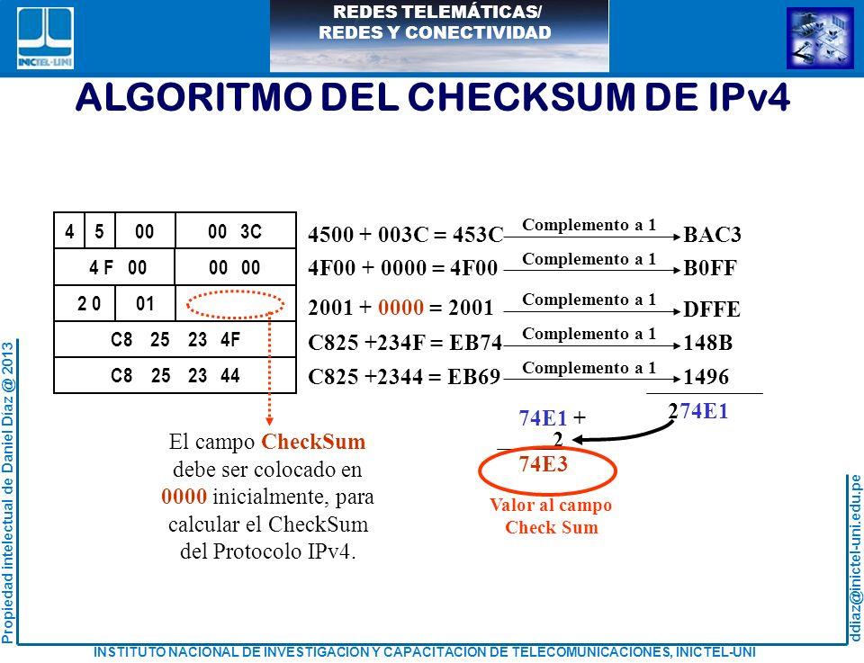 calcular el CheckSum del Protocolo IPv4.