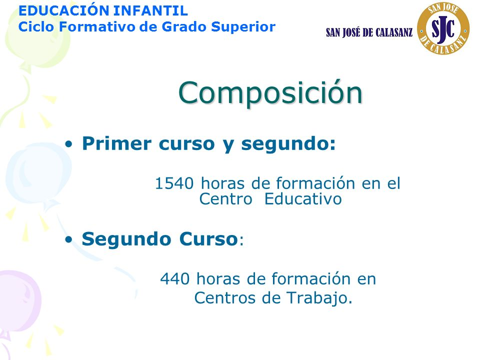 Composición Primer curso y segundo: Segundo Curso:
