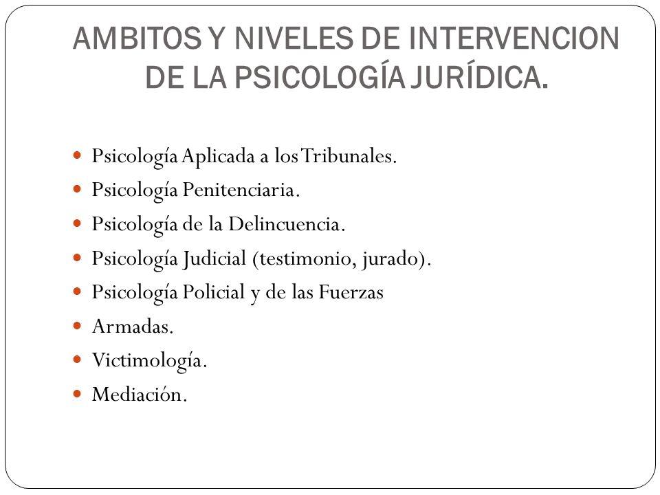 AMBITOS Y NIVELES DE INTERVENCION DE LA PSICOLOGÍA JURÍDICA.