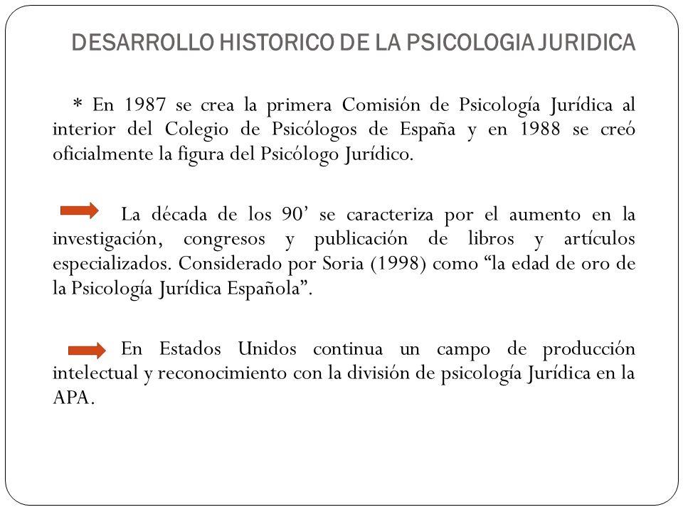 DESARROLLO HISTORICO DE LA PSICOLOGIA JURIDICA