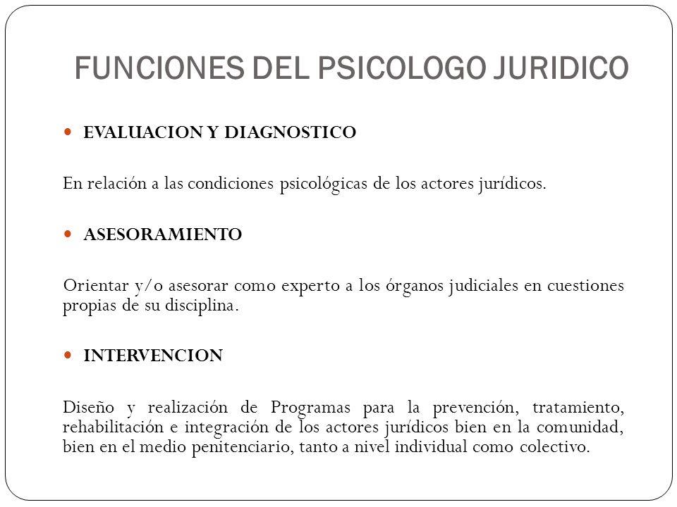 FUNCIONES DEL PSICOLOGO JURIDICO