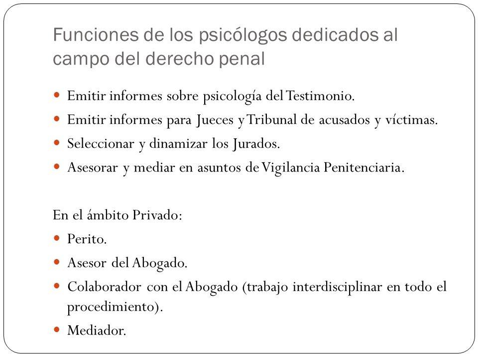 Funciones de los psicólogos dedicados al campo del derecho penal