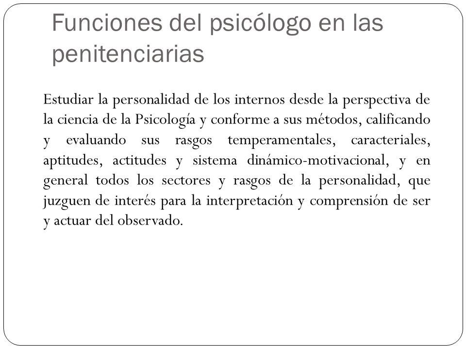 Funciones del psicólogo en las penitenciarias