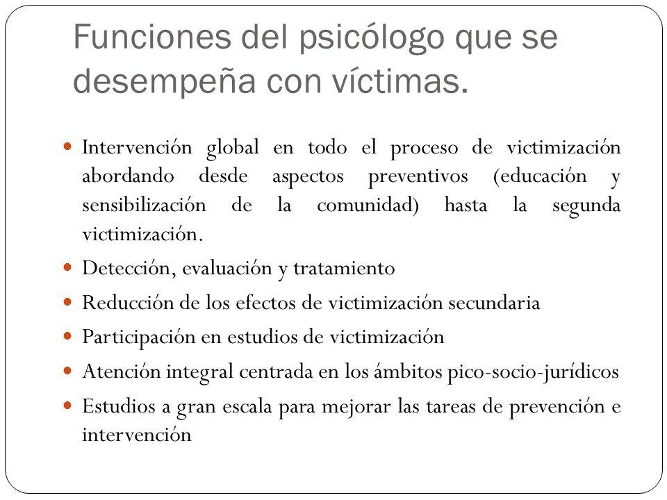 Funciones del psicólogo que se desempeña con víctimas.