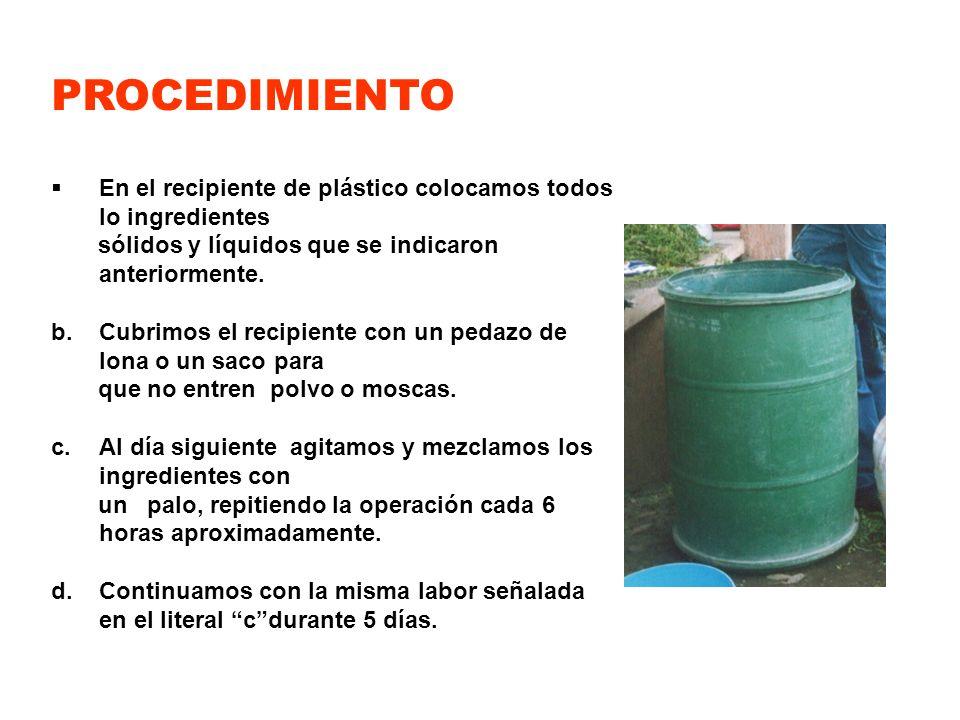 PROCEDIMIENTOEn el recipiente de plástico colocamos todos lo ingredientes. sólidos y líquidos que se indicaron anteriormente.