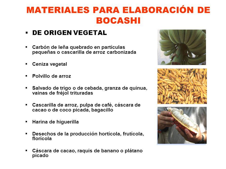 MATERIALES PARA ELABORACIÓN DE BOCASHI