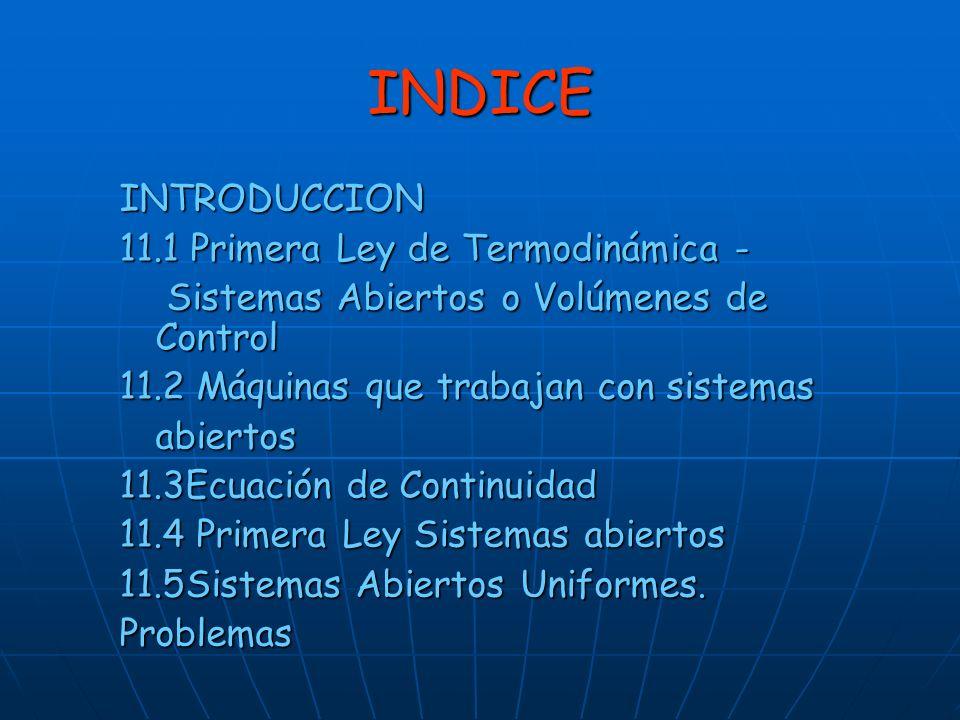 INDICE INTRODUCCION 11.1 Primera Ley de Termodinámica -