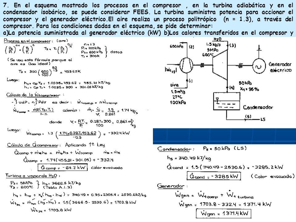 7. En el esquema mostrado los procesos en el compresor , en la turbina adiabática y en el condensador isobárico, se puede considerar FEES. La turbina suministra potencia para accionar el compresor y el generador eléctrico.El aire realiza un proceso politrópico (n = 1.3), a través del compresor. Para las condiciones dadas en el esquema, se pide determinar: