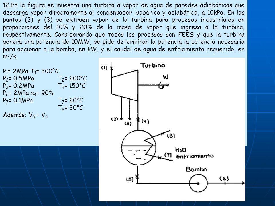 12.En la figura se muestra una turbina a vapor de agua de paredes adiabáticas que descarga vapor directamente al condensador isobárico y adiabático, a 10kPa. En los puntos (2) y (3) se extraen vapor de la turbina para procesos industriales en proporciones del 10% y 20% de la masa de vapor que ingresa a la turbina, respectivamente. Considerando que todos los procesos son FEES y que la turbina genera una potencia de 10MW, se pide determinar la potencia la potencia necesaria para accionar a la bomba, en kW, y el caudal de agua de enfriamiento requerido, en m3/s.