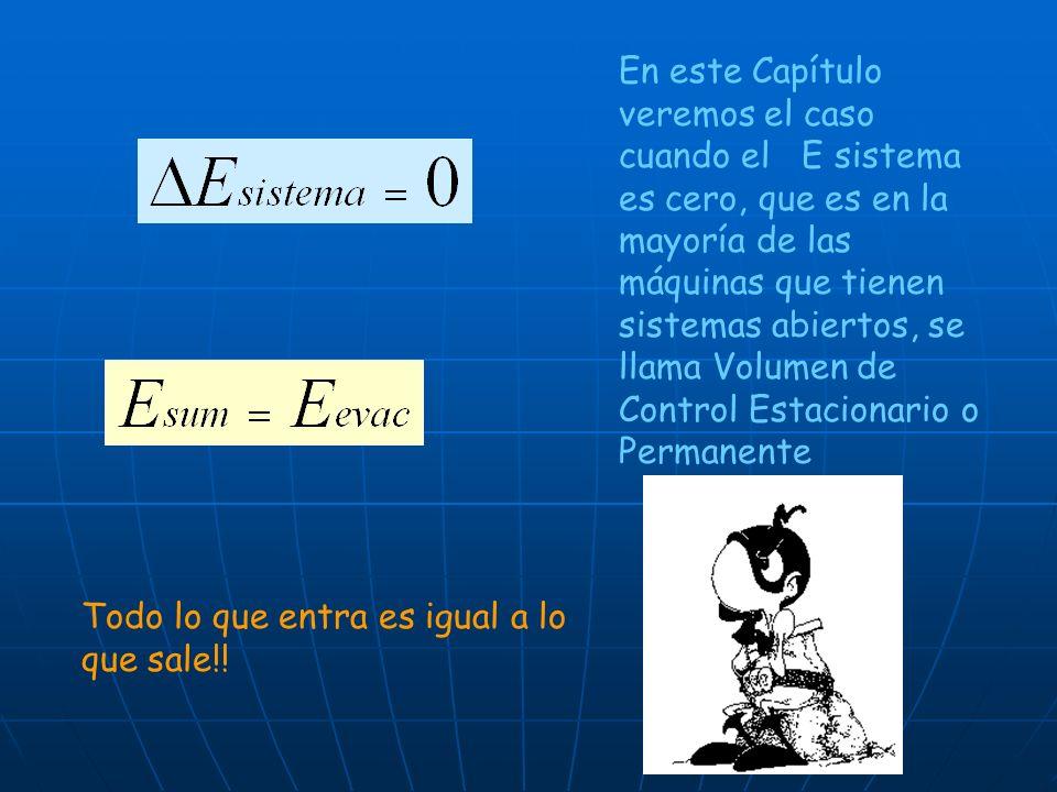 En este Capítulo veremos el caso cuando el E sistema es cero, que es en la mayoría de las máquinas que tienen sistemas abiertos, se llama Volumen de Control Estacionario o Permanente