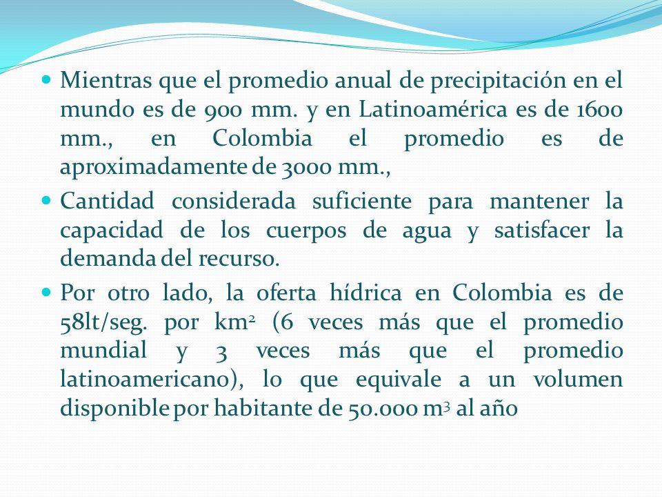 Mientras que el promedio anual de precipitación en el mundo es de 900 mm. y en Latinoamérica es de 1600 mm., en Colombia el promedio es de aproximadamente de 3000 mm.,