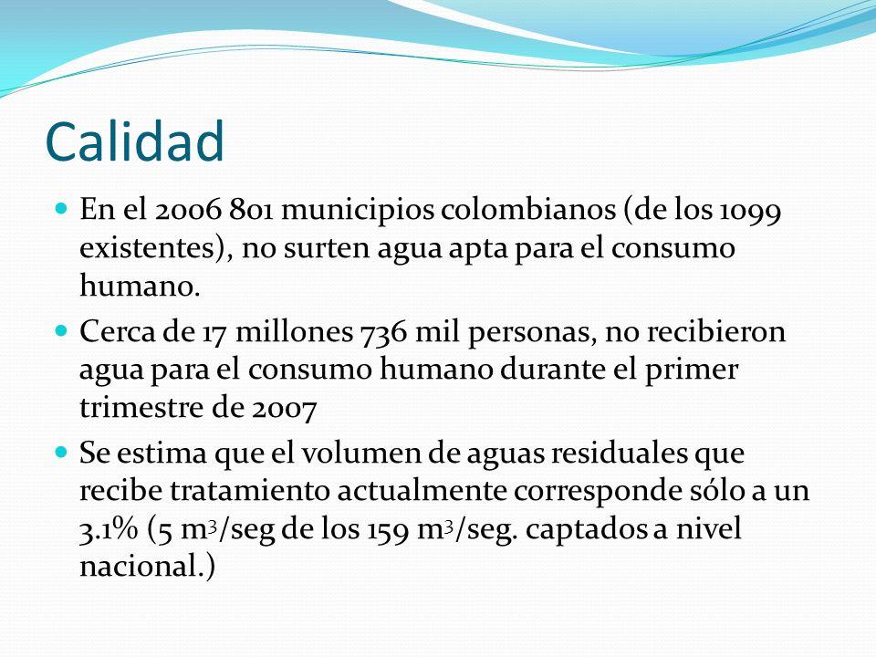 CalidadEn el 2006 801 municipios colombianos (de los 1099 existentes), no surten agua apta para el consumo humano.