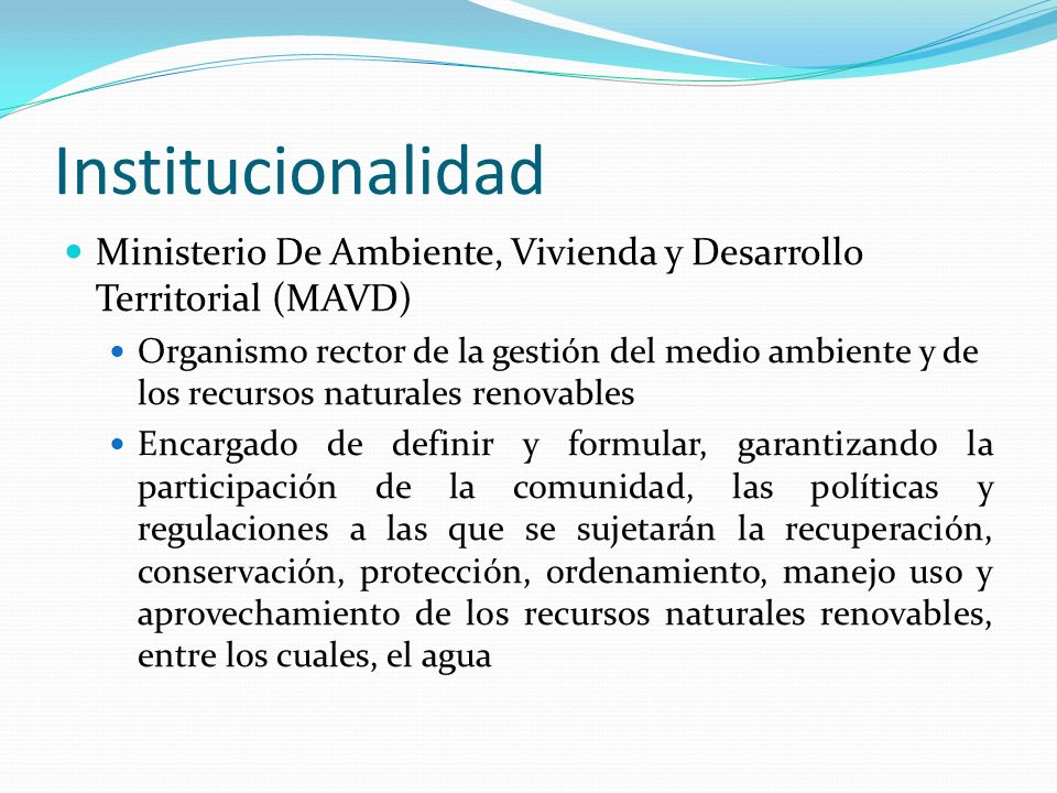 Institucionalidad Ministerio De Ambiente, Vivienda y Desarrollo Territorial (MAVD)