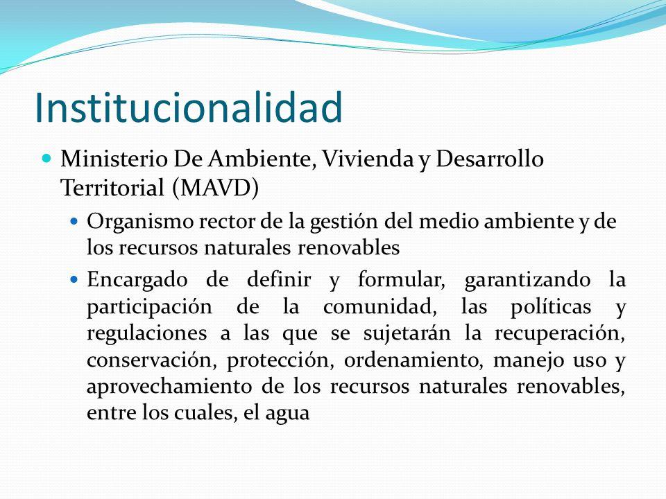 InstitucionalidadMinisterio De Ambiente, Vivienda y Desarrollo Territorial (MAVD)