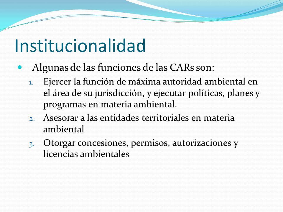 Institucionalidad Algunas de las funciones de las CARs son: